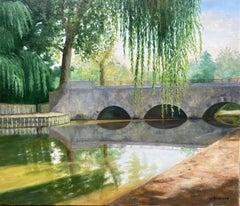 Large 20th Century French Impressionist Tranquil River Landscape Old Bridge
