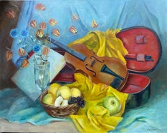 Large 20th Century French Impressionist Oil - Colorful Still Life Violin