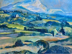 Mid 20th Century French Post-Impressionist Oil - Provence Landscape - greens
