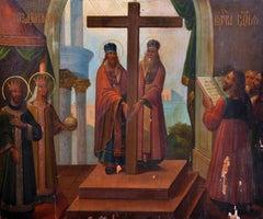 19th Century Greek School Icon - Religious Scene - Oil on Large Wood Panel