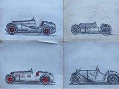 Set of Four 1930's Motor Car Racing Original Drawings