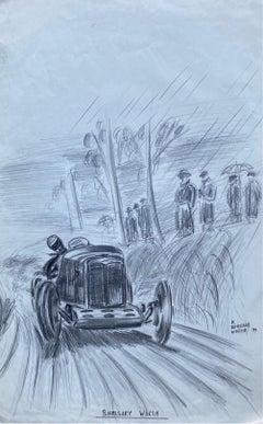 Original 1930's Vintage Motor Car Racing Original Drawing Signed Dated