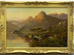Antique Scottish Highland Loch Scene Cattle Watering Sunset Signed Oil