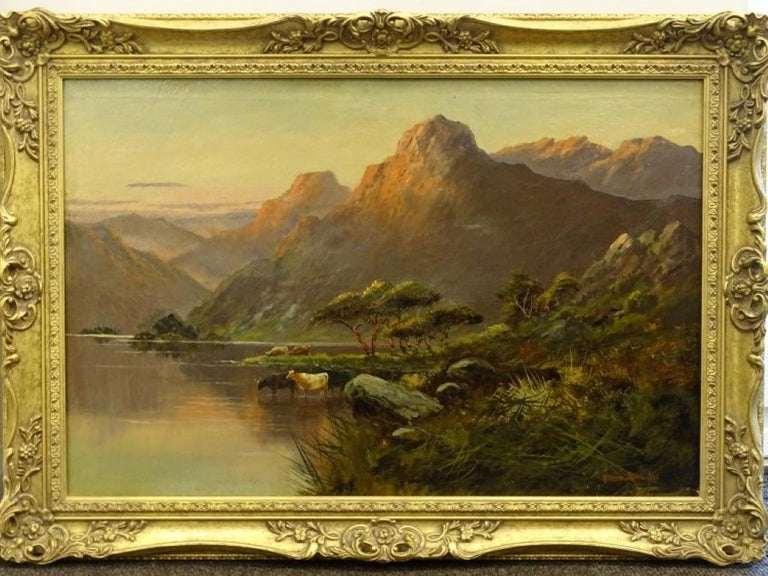 Willem Breanski Animal Painting - Antique Scottish Highland Loch Scene Cattle Watering Sunset Signed Oil