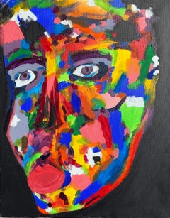 BOLLY FROST - CONTEMPORARY ABSTRACT BRITISH PAINTING - QUIRKY COLORFUL FACE