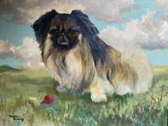 SIGNED 1950'S ENGLISH DOG OIL PAINTING - THE PEKINGESE WITH BALL IN LANDSCAPE