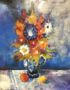 HUGE 1970'S FRENCH MODERNIST SIGNED OIL - BRIGHT & COLORFUL STILL LIFE FLOWERS