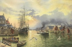 LARGE SIGNED ENGLISH OIL - CLASSIC TALL SHIP ENTERING OLD TRADITIONAL HARBOUR