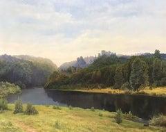 Large English Tranquil Summer River Landscape Sunset Harvest Fields Signed Oil