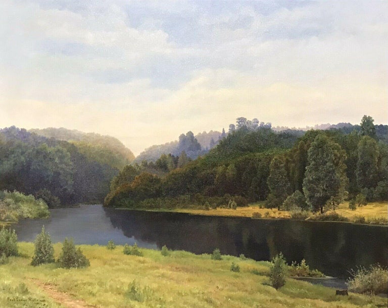 Paul George Halle Figurative Painting - Large English Tranquil Summer River Landscape Sunset Harvest Fields Signed Oil