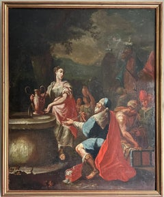 EARLY 1700's ITALIAN OLD MASTER OIL PAINTING - REBECCA & ELIEZER AT THE WELL