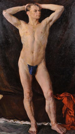Huge Oil Portrait of Semi Nude Man - Full Length Study Muscular Model - Signed