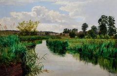 River Thames at Pangbourne Fine Victorian Signed Tranquil Landscape Oil Painting