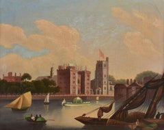 C. 1830's English Oil Lambeth Palace on River Thames, Fine Antique Painting