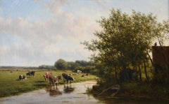 Large 19th Century Pastoral Landscape Cattle Grazing River Landscape - Oil