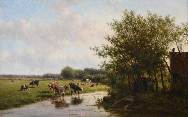 Willem Vester (Dutch 1824-1895) Landscape Painting - Large 19th Century Pastoral Landscape Cattle Grazing River Landscape - Oil