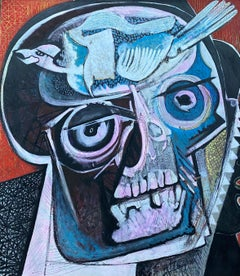 ENORMOUS ORIGINAL 1970'S FRENCH MODERNIST ABSTRACT PAINTING - HEAD SKULL