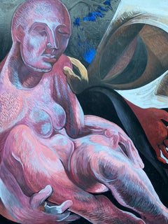 HUGE ORIGINAL 1970'S FRENCH ABSTRACT MODERNIST PAINTING - SURREALIST NUDE
