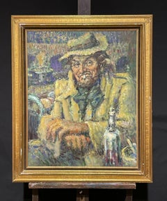 Portrait of French Man sitting at Cafe Table with Bottle of Wine - Large Oil