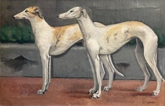 Large 1950's French Signed Oil - Pair of Whippet Dogs Standing - Fine Original