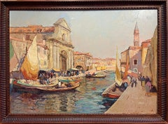 Huge Oil Painting Venetian Backwater Fish Market Canal Scene Boats & Figures