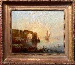 19th Century French Romantic Sunset Coastal Scene Signed Oil - Fisherman & Ruins