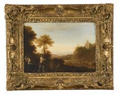 Fine 17th Century Dutch Old Master Oil - Italianate Classical Landscape Figures