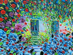 Huge Italian Contemporary Oil Painting - Monet's Garden Giverny Blaze of Colors