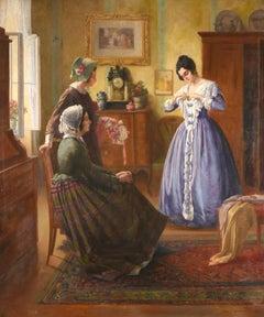 Very Large 1900's Oil Elegant Interior Genre Scene Ladies Admiring New Dress