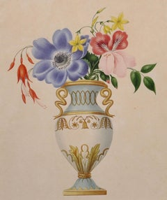 Early 19th Century Set of Four English Botannical Watercolour Flower Paintings