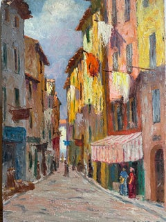 1930's FRENCH IMPRESSIONIST SIGNED OIL - THE OLD TOWN NICE - BEAUTIFUL COLOURS