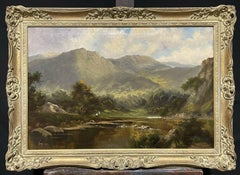 FINE ANTIQUE SCOTTISH HIGHLANDS OIL PAINTING - FIGURES BY MOUNTAINOUS LOCH SCENE