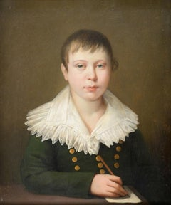 Fine 1800's Portrait of Young Aristocratic Boy with Letter & Pen Oil on Canvas