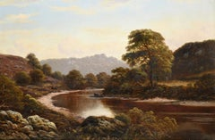 Large Victorian Oil Painting on Canvas Tranquil River Landscape Wye at Monmouth