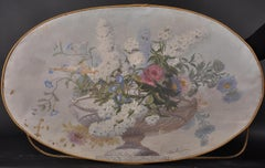 Large 19th Century Classical Flowers in Urn Fine French Oval Oil Painting