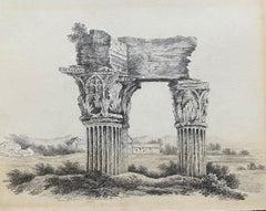 Fine 1840's Grand Tour Drawing Ancient Italian Ruins Roman Columns Landscape