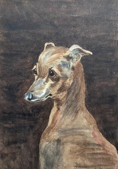 Fine 1900's British Dog Painting Portrait of a Whippet, Painted in Rome