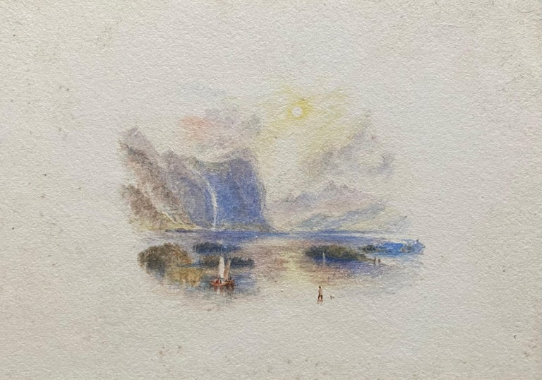 Victorian Watercolour Painting after Turner Italian Lake Scene with Boat - Gray Landscape Painting by (After) Joseph Mallord William Turner