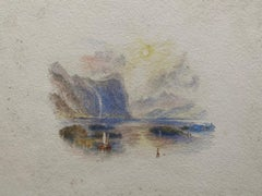 Victorian Watercolour Painting after Turner Italian Lake Scene with Boat