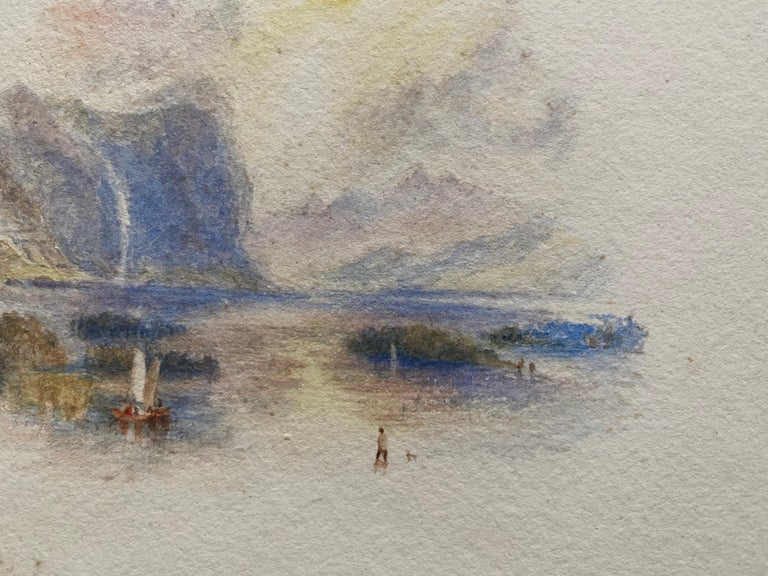 Title: Italian Lake  Artist/ School: English School, 19th century, after JMW Turner  Medium: watercolour on card  Size: 7 x 10 inches  Provenance: from a private European collection  Condition report: The paper is very much in tact and in good