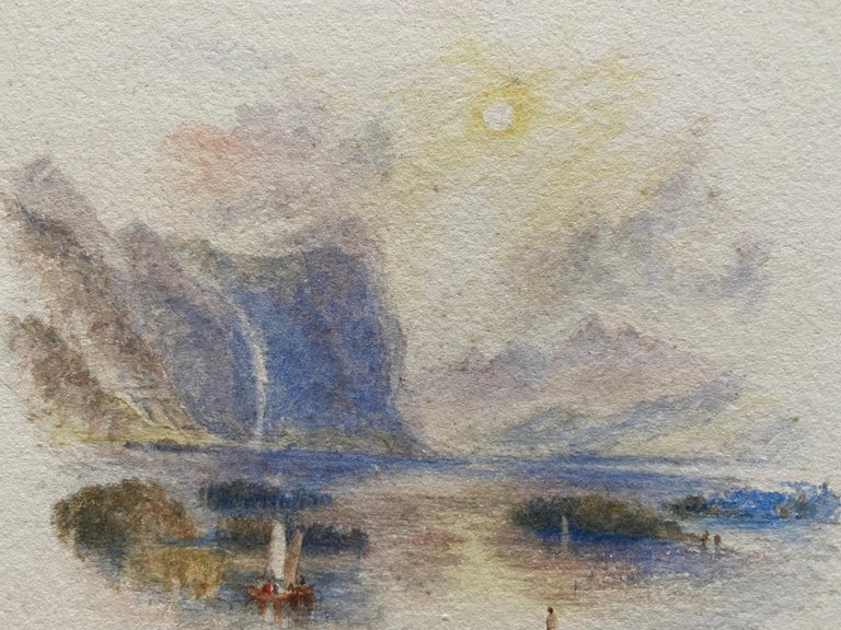 Victorian Watercolour Painting after Turner Italian Lake Scene with Boat For Sale 1