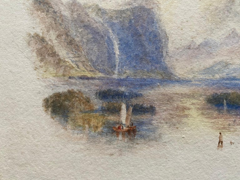 Victorian Watercolour Painting after Turner Italian Lake Scene with Boat For Sale 2