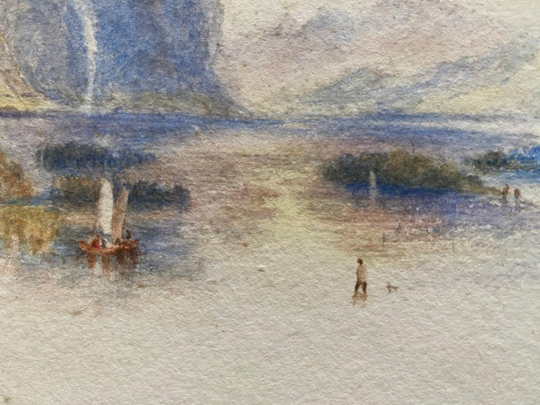 Victorian Watercolour Painting after Turner Italian Lake Scene with Boat For Sale 3