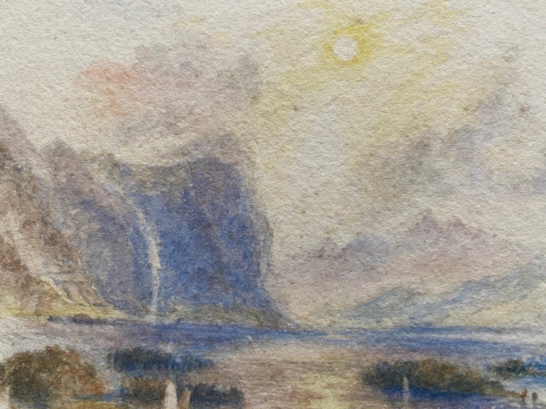 Victorian Watercolour Painting after Turner Italian Lake Scene with Boat For Sale 4