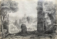 18th C Italian Classical Grand Tour Ancient City Old Ruins & Figures