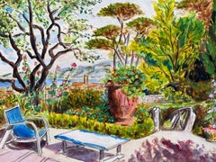 Mid 20th Century French Modernist Painting - Summer Garden Cote d'Azur Terrace