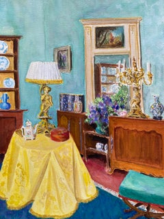 Mid 20th Century French Modernist Painting - Colourful Interior of Elegant Room
