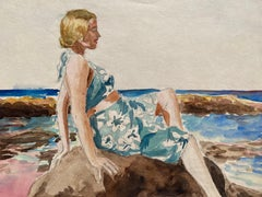 1930's French Impressionist Painting - Young Girl in Blue Dress Rocky Coast Sea