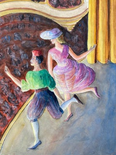 Mid 20th Century French Modernist Painting - The Theatre
