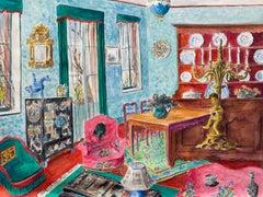 Mid 20th Century French Modernist Painting - Beautiful Interior Salon Room